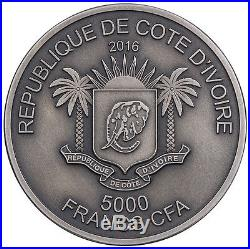2017 Ivory Coast 5 Ounce Big 5 Elephant High Relief Silver Proof Coin + Gift