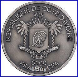 2017 Ivory Coast 5 Ounce Big 5 Elephant Mauquoy Silver Proof Coin