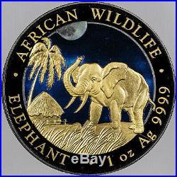 2017 SOMALI ELEPHANT NIGHT COLORIZED RUTHENIUM 1OZ. 999 SILVER IN BOX WithCOA BU