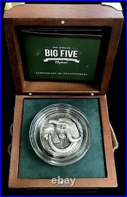 2017 Silver Ivory Coast 5 Oz Big 5 Mauquoy Elephant 5000 Francs High Relief Coin