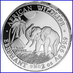 2017 Somali African Wildlife 4 Coin Silver Proof Set box & COA Somalia Elephant