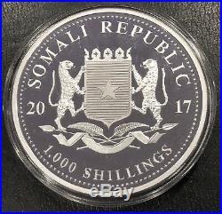 2017 Somalia 10 Oz Silver Elephant. 9999 Fine Bu! In Capsule