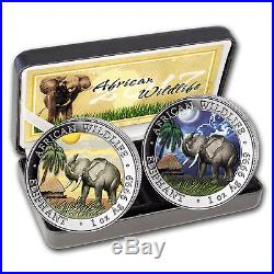 2017 Somalia 2-Coin 1 oz Silver Elephant Set Day/Night (Colored) SKU #103946