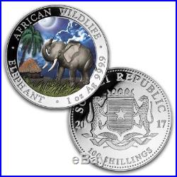 2017 Somalia 2-Coin 1 oz Silver Elephant Set Day/Night (Colored) W103946