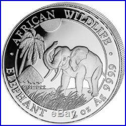 2017 Somalia 2oz 200 Shillings African Wildlife Elephant BU in air-tite