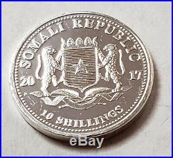 2017 Somalia Elephant 10 Schilling 1/10 Oz. Silver Bank Roll 50 Ct. Prooflike