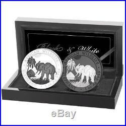 2017 Somalia Elephant Black & White 2 coin set 1 oz Silver Ruthenium Finish
