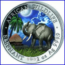 2017 Somalia Elephant Colorized DAY & NIGHT Silver 2-Coin Set COA# 1xx / 500