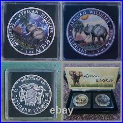 2017 Somalian Elephant DAY & NIGHT 999 2 oz Silver Coin Set & COA (500 Minted)