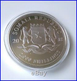 2018 1 Kilo Silver Elephant Somalia African Wildlife Medallion in Capsule