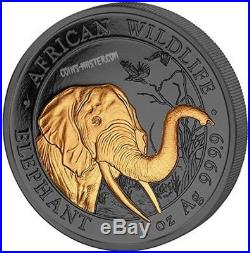 2018 1 Oz Silver 100 Shillings Golden Enigma SOMALIAN ELEPHANT Coin