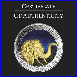 2018 1 Oz Silver SOMALIAN COLORED ELEPHANT AT NIGHT Coin