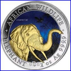 2018 1 Oz Silver SOMALIAN ELEPHANT AT NIGHT Coin