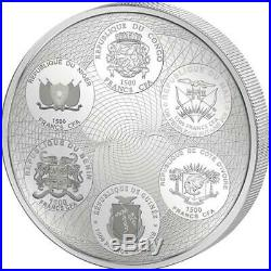 2018 3 oz AFRICA UNITED Elephant Silver Coin Ivory Benin Congo Mali Niger