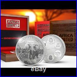 2018 3 oz AFRICA UNITED Elephant Silver Proof Coin Ivory Benin Congo Mali Niger