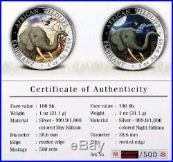 2018 AFRICAN ELEPHANT WILDLIFE DAY/NIGHT SET 2 X 1oz COLORIZED Silver, Box & COA