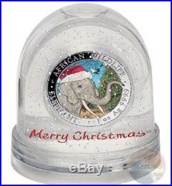 2018 ELEPHANT Christmas Coin in Snow Globe 1 oz. 9999 Silver Coin Somalia