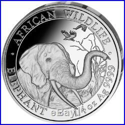 2018 Somali African Wildlife 4 Coin Silver Proof Set box & COA Somalia Elephant