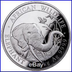 2018 Somalia 1 Kilo (32.151 oz.) Silver Elephant 2,000S BU Coin SKU49759