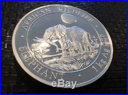 2018 Somalia 1 kilo Silver Elephant & baby 2000 shillings year 2011