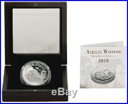 2018 Somalia 1 oz High Relief Silver Elephant Proof Coin GEM Proof OGP SKU52685