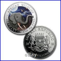 2018 Somalia 2-Coin 1 oz Silver Elephant Set Day/Night (Colored) SKU#155289