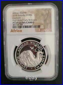 2018 Somalia African Wildlife High Relief Silver Elephant NGC PF69 ULTRA CAMEO