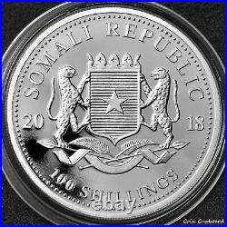 2018 Somalia Elephant 1oz silver coin with gold gilding