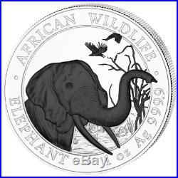2018 Somalia Elephant Black & White Two 1 oz Silver Coin Set Ruthenium 500 made