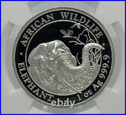 2018 Somalia Elephant High Relief-Early Releases NGC PF70 Ultra Cameo