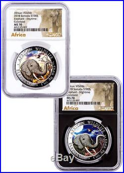 2018 Somalia Wildlife Day/Night Elephant 2-Coin 1 oz Silver NGC MS70 SKU52524