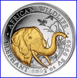 2018 Somalian Elephant 1Oz. 999 Gold Gilded Fine Silver Coin