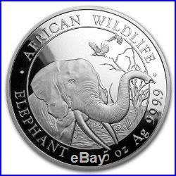 2018 Somalian Elephant 5 oz. 9999 Silver BU Bullion Round Limited Capsuled Coin