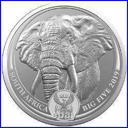 2019 1 Oz South Africa Big Five Elephant. 999 Silver Coin Bu