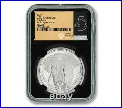 2019 1oz Silver Big 5 Elephant South Africa NGC MS-70 FDI