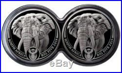 2019 2×1 Oz PROOF Silver South Africa 5 Rand BIG FIVE ELEPHANT Coin Set