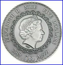 2019 2 Oz Silver Niue ELEPHANT MANDALA COLLECTION Antique finish Coin