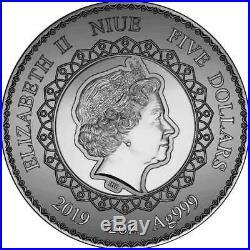 2019 Niue 2 oz Elephant Mandala Collection Swarovski Crystal Silver Coin