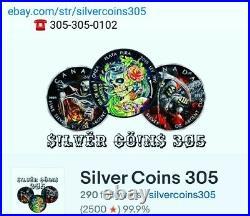 2019 Niue $5 Mandala Collection ELEPHANT Antique Colorized 2oz. 999 Silver Coin