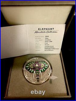 2019 Niue Elephant Mandala Collection 2 oz Antique finish Silver Coin