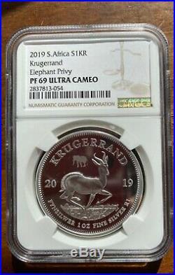 2019 South Africa Silver Krugerrand PF69 1 oz elephant Privy Big five Coin