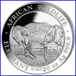 2020 10 oz Silver Somalia Elephant 1000 Shillings 9999 Fine Coin Brilliant UNC+