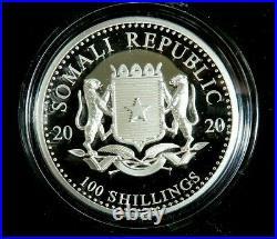 2020 1 Oz Somalia ELEPHANT Coin OGP COA, SCARCE HIGH RELIEF COIN