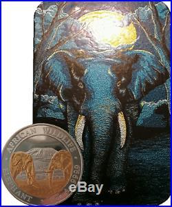 2020 24K GILDED SILVER ELEPHANT EDITION 1Oz. 999 COIN ZAMBIA/SOMALIA