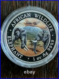 2020 Somalia African Elephant Colorized 1 OZ. 9999 Silver Coin 100 Shillings
