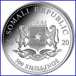 2020 Somalia Elephant 500 Shillings 5 oz Silver 9999 Fine Coin Brilliant UNC+