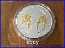 2020 Somalia Elephant African Wildlife 1 Oz. 999 Gold Gilded Silver Coin