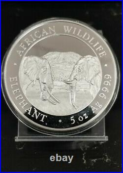 2020 Somalia Silver African Wildlife Elephants 5 oz. 9999