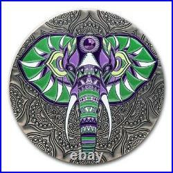 2021 Republic of Ghana 1 kilo Silver Mandala Collection Elephant SKU#229439