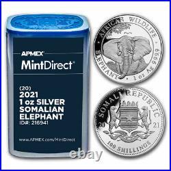 2021 Somalia 1 oz Silver Elephant (20-Coin MintDirect Tube) SKU#216941